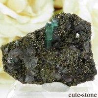 コロンビア Chivor Mine産 エメラルド&パイライトの母岩付き結晶(原石)6.5gの画像