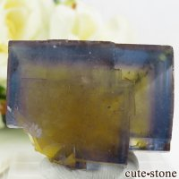 フランス Valzergues産 イエローブルーフローライトの結晶(原石)37gの画像