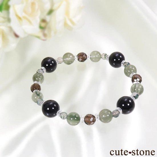 【箱庭の夜】 黒翡翠、アクチノライトインクォーツ、スモーキークォーツ、モスアゲートのブレスレットの写真0 cute stone