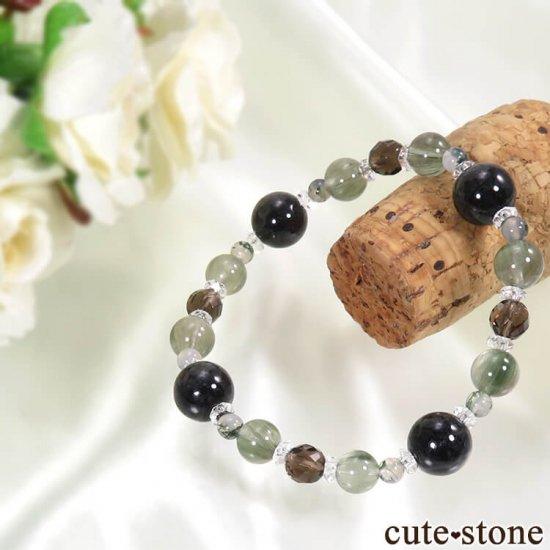 【箱庭の夜】 黒翡翠、アクチノライトインクォーツ、スモーキークォーツ、モスアゲートのブレスレットの写真1 cute stone