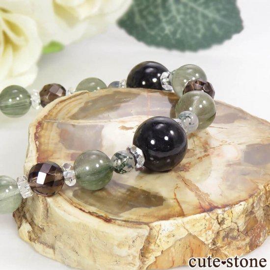 【箱庭の夜】 黒翡翠、アクチノライトインクォーツ、スモーキークォーツ、モスアゲートのブレスレットの写真2 cute stone