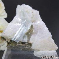パキスタン スカルドゥ産 アクアマリン&モスコバイトの母岩付き結晶(原石)36.8gの画像