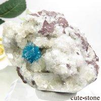インド プネー産 カバンサイト&カルサイトの母岩付き結晶(原石) 27.6gの画像