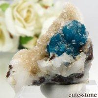 インド プネー産 カバンサイト&カルサイトの母岩付き結晶(原石) 6.9gの画像