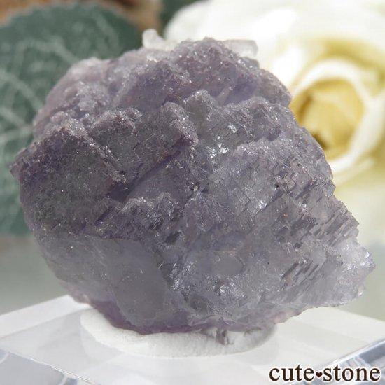 フランス Fontsante Mine産 パープル×グリーンブルーフローライト&カルサイトの結晶(原石)16.6gの写真2 cute stone
