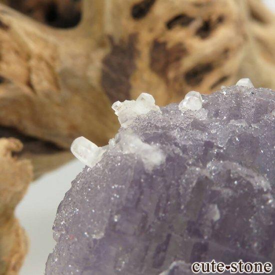 フランス Fontsante Mine産 パープル×グリーンブルーフローライト&カルサイトの結晶(原石)16.6gの写真3 cute stone