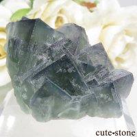 フランス Fontsante Mine産 グリーンブルーフローライトの結晶(原石)29.4gの画像