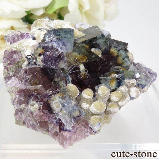中国 内モンゴル産 パープル×ブルーフローライト&モスコバイトの結晶(原石) 83.2gの写真0 cute stone