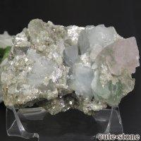 パキスタン Chumar Bakhoor産 フローライト&アクアマリン&モスコバイトの母岩付き結晶(原石) 127gの画像
