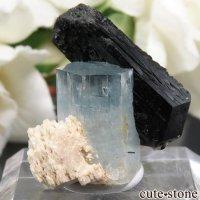 ナミビア エロンゴ産 アクアマリン&ブラックトルマリンの結晶(原石)6.2gの画像