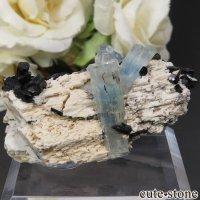 ナミビア エロンゴ産 アクアマリン&ブラックトルマリンの結晶(原石)17.7gの画像