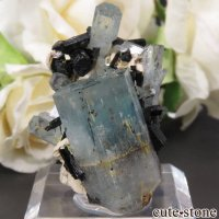 ナミビア エロンゴ産 アクアマリン&ブラックトルマリンの結晶(原石)16.3gの画像