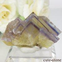 フランス La Barre Mine産 ブルー×イエローフローライトの結晶(原石) 18.2gの画像