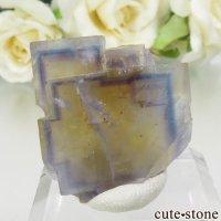 フランス La Barre Mine産 ブルー×イエローフローライトの結晶(原石) 13.4gの画像