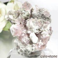 フランス モンブラン産 ピンクフローライト&スモーキークォーツの母岩付き結晶(原石) 15.8gの画像