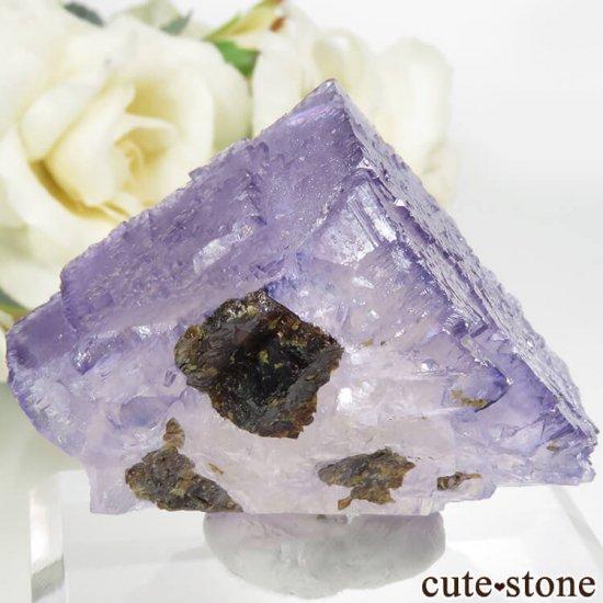 アメリカ エルムウッド鉱山産 パープルブルーフローライト&スファレライトの原石 68.3gの写真1 cute stone