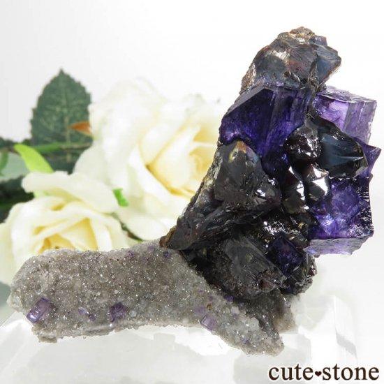 アメリカ エルムウッド鉱山産 パープルブルーフローライト&スファレライトの原石 89.3gの写真0 cute stone