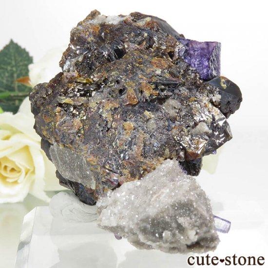 アメリカ エルムウッド鉱山産 パープルブルーフローライト&スファレライトの原石 89.3gの写真1 cute stone