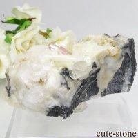 パキスタン カットラン産 ピンクトパーズ (インペリアルトパーズ)の母岩付き結晶 (原石) 85gの画像