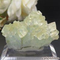 インド プネー Wagholi産 グリーンアポフィライト&イエローカルサイトの結晶(原石) 9.5gの画像