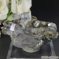 パキスタン Chumar Bakhoor産 アクアマリン&モスコバイト&ブラックトルマリンインクォーツの結晶(原石) 28.6gの画像