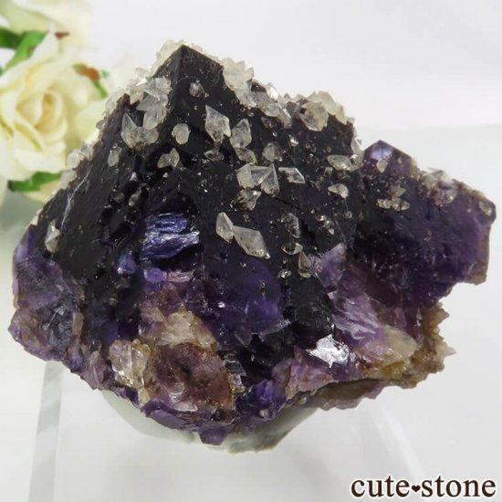 イリノイ州 Denton Mine産パープル×イエローフローライト&カルサイト&ガレナの原石 154.5gの写真1 cute stone