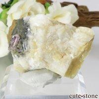 パキスタン カットラン産 ピンクトパーズ (インペリアルトパーズ)の母岩付き結晶 (原石) 23.8gの画像