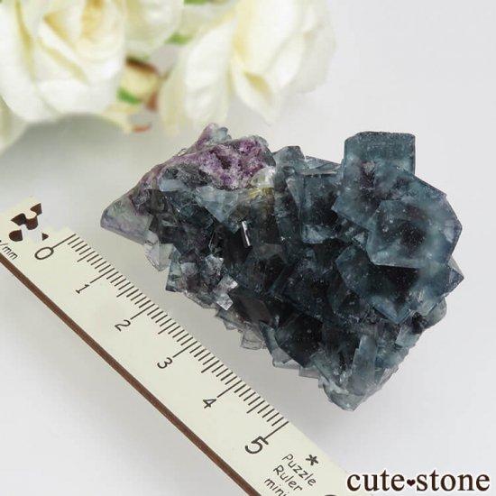 ナミビア Okorusu Mine産ブルー×パープル×グリーンフローライトの原石 53.5gの写真5 cute stone