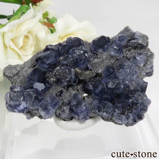 中国 福建省産パープルブルーフローライト&クォーツの母岩付き結晶(原石) 44.6g