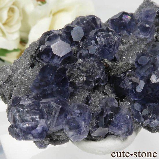 中国 福建省産パープルブルーフローライト&クォーツの母岩付き結晶(原石) 44.6gの写真4 cute stone
