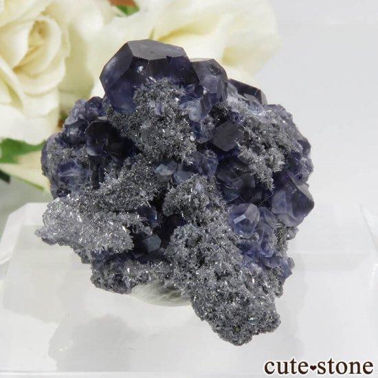 中国 福建省産パープルブルーフローライト&クォーツの母岩付き結晶(原石) 28.4gの写真0 cute stone