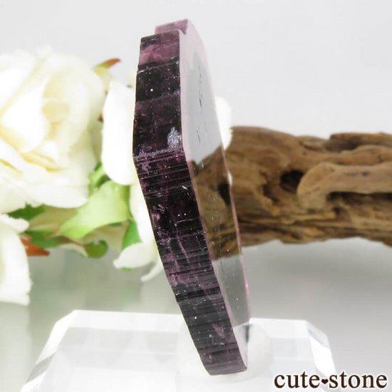 ブラジル ミナスジェライス州産 リバースウォーターメロントルマリンのスライス 17.5gの写真0 cute stone