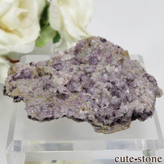 チェコ Zinnwald産 パープルフローライトの母岩付きの結晶(原石) 21.2g