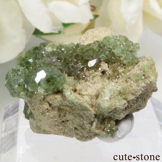 イタリア Malenco Valley産のデマントイドガーネットの母岩付き結晶(原石) 7.2g