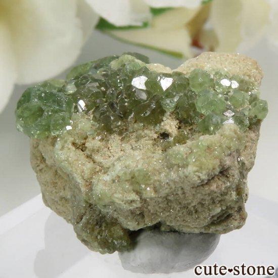 イタリア Malenco Valley産のデマントイドガーネットの母岩付き結晶(原石) 7.2gの写真2 cute stone