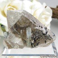 ナミビア エロンゴ産 アクアマリン&スモーキークォーツ&ブラックトルマリンの結晶(原石)24.9gの画像