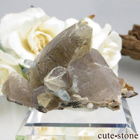 ナミビア エロンゴ産 アクアマリン&スモーキークォーツ&ブラックトルマリンの結晶(原石)34.4g