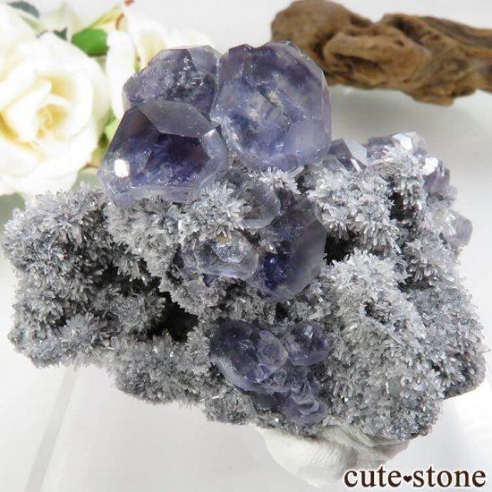 福建省 Xia Yang Mine産 パープルフローライト&クォーツの母岩付き原石 No.31の写真0 cute stone