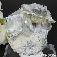 中国 福建省産 ライトグリーンフローライト&カルサイトの原石 No.13の画像