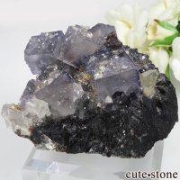 アメリカ エルムウッド鉱山産 パープルブルーフローライト&スファレライト&カルサイトの原石 No.36の画像