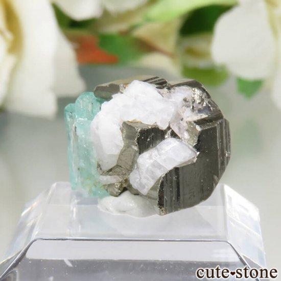 コロンビア Chivor Mine産 エメラルド&パイライトの結晶(原石)No.6の写真1 cute stone