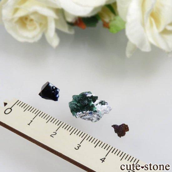 メキシコ Milpillas Mine産 アズライト、マラカイト、イリデッセンスゲーサイトの3点セット No.1の写真1 cute stone
