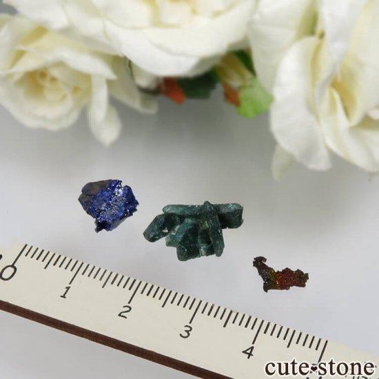 メキシコ Milpillas Mine産 アズライト、マラカイト、イリデッセンスゲーサイトの3点セット No.2の写真1 cute stone