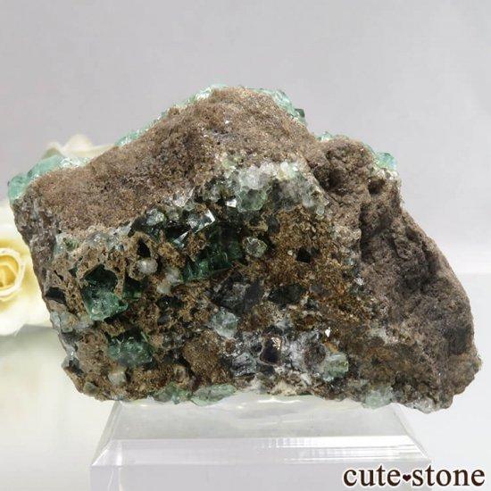 イングランド Diana Maria鉱山産 蛍光フローライトの母岩付き原石 No.13の写真1 cute stone