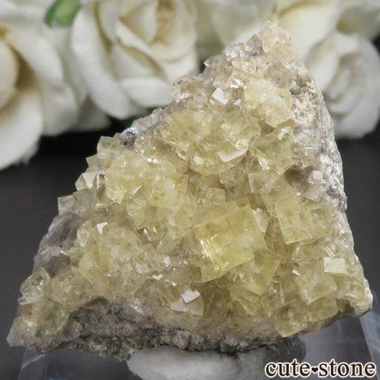 フランス Giromagny産 イエローフローライトの母岩付き原石 No.1