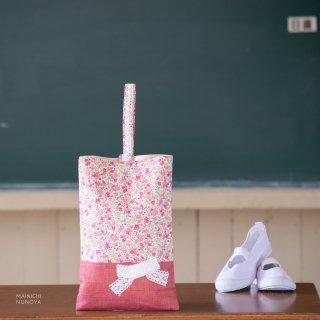 花柄&リボンのシューズバッグ ピンク