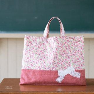 花柄&リボンのレッスンバッグ(通園袋)ピンク