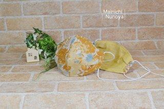 涼しい肌触りのリネン立体マスク:山吹色・花柄(レディース・ジュニアサイズ)