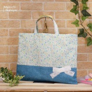 花柄&リボンのレッスンバッグ(通園袋)水色