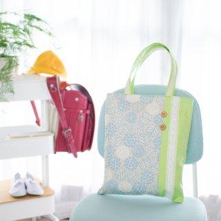 北欧ナチュラル・紫陽花柄のトートバッグ:水色×黄緑
